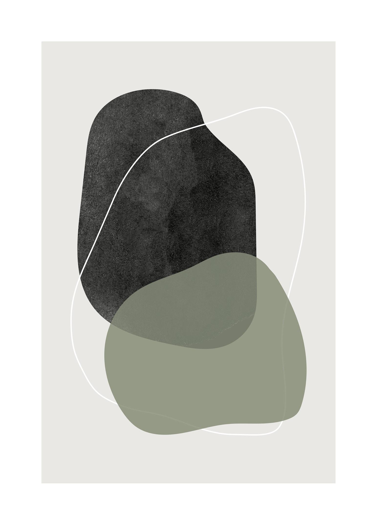 Abstrakt poster med cirkelformade linjer i grönt