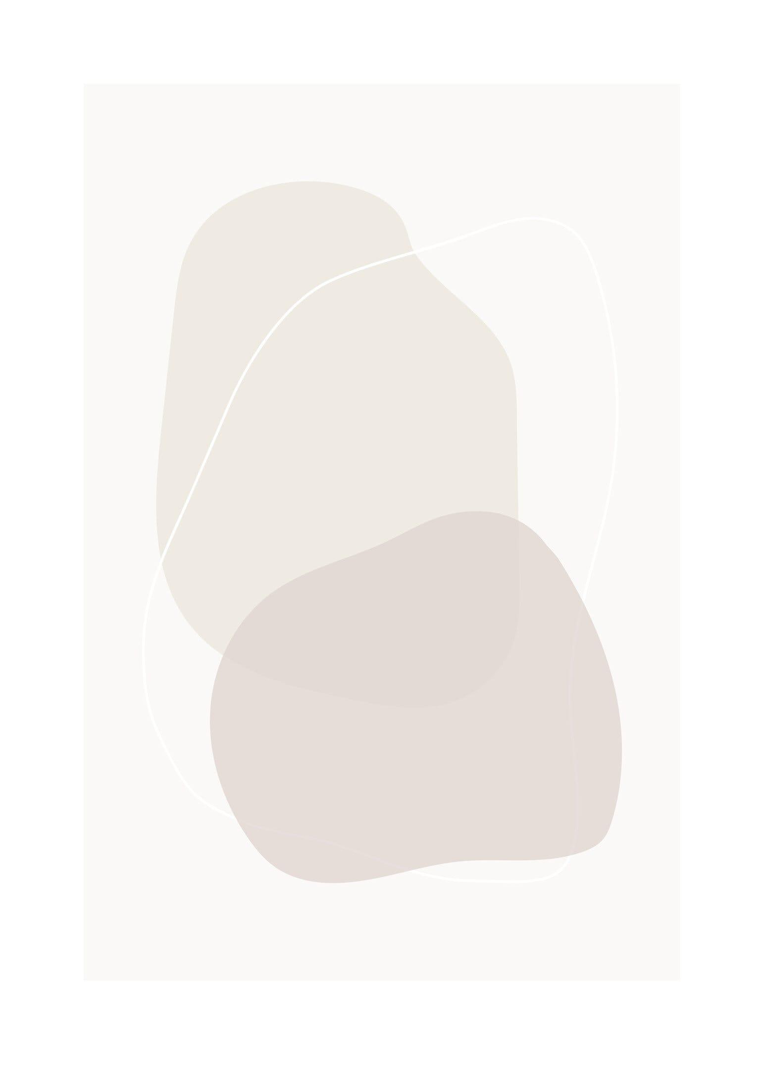 Abstrakt poster med cirkelformade linjer i rosabeige toner