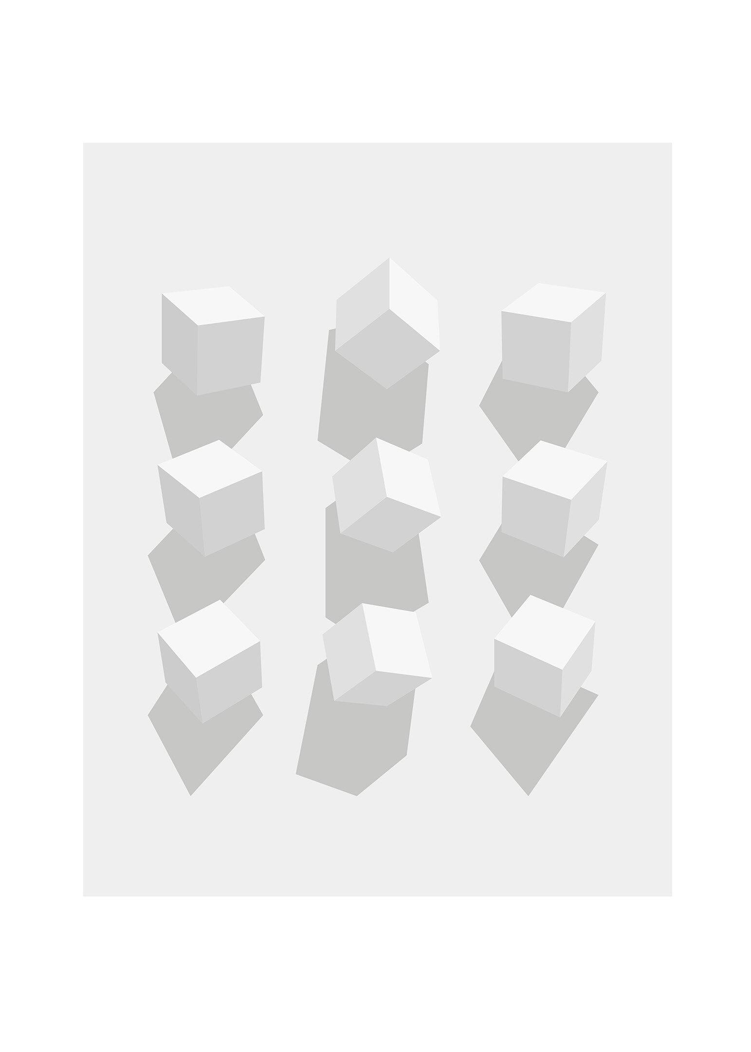 Kuber i vinklar grå poster