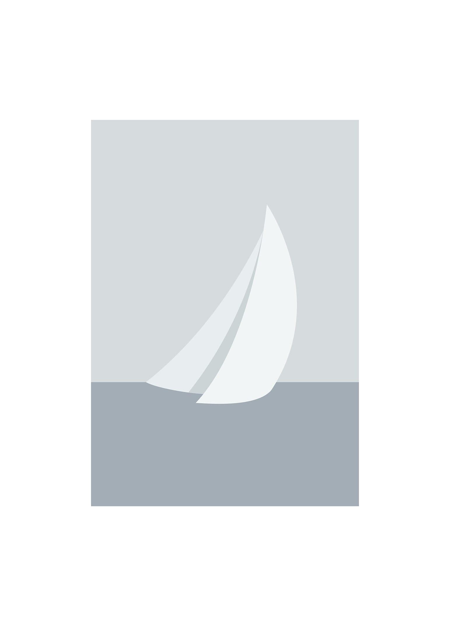 Grafisk segelbåt poster