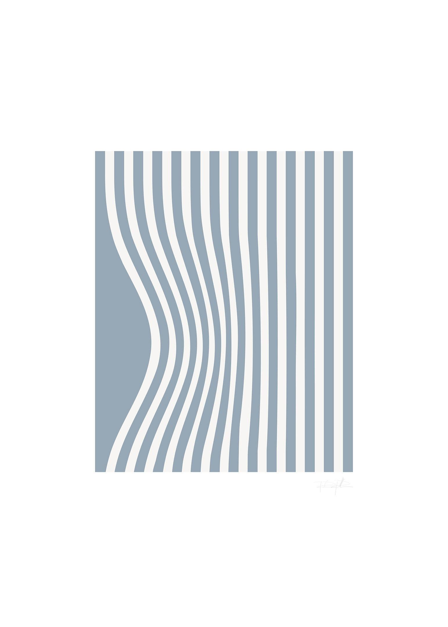 Grafisk illusionposter blå